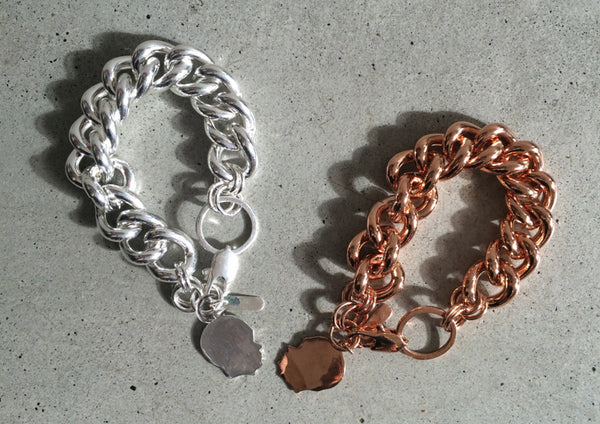 rose gold chunky bracelet with child profile charm