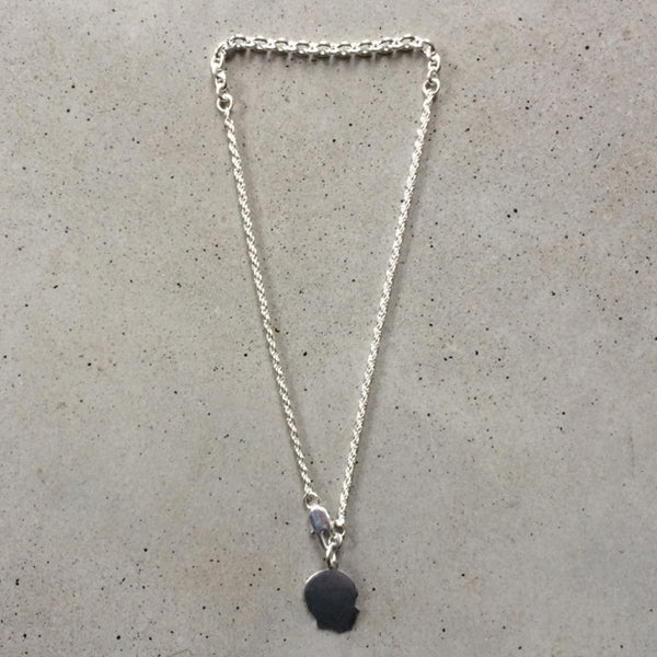 short sterling silver necklace with childs profile pendant