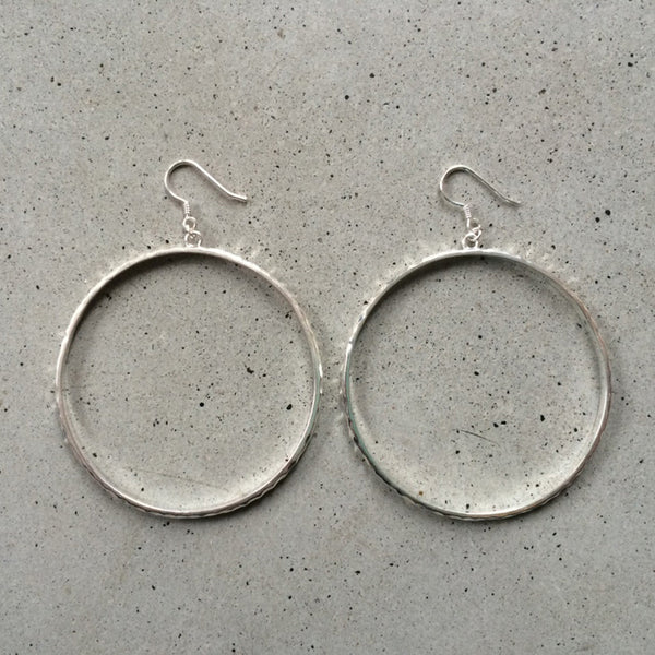 large sterling silver loop earrings