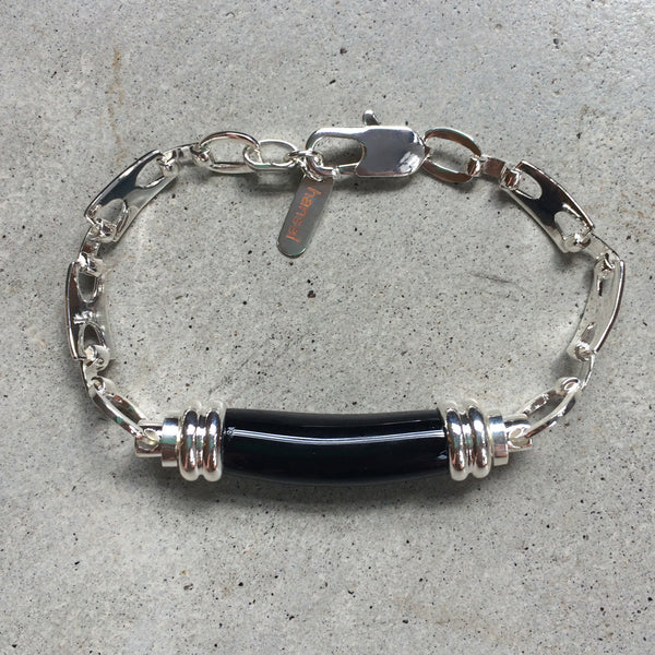 sterling silver bracelet with black glass pendant