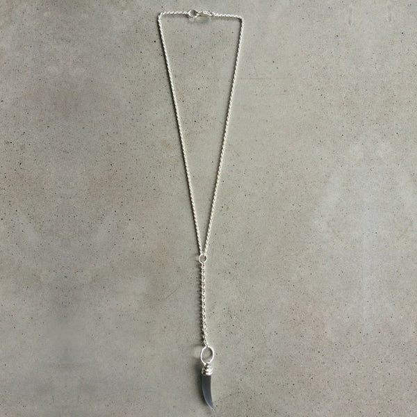 long sterling silver chain necklace with opaque glass pendant