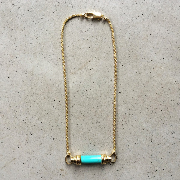 short light bronze necklace with turquoise pendant