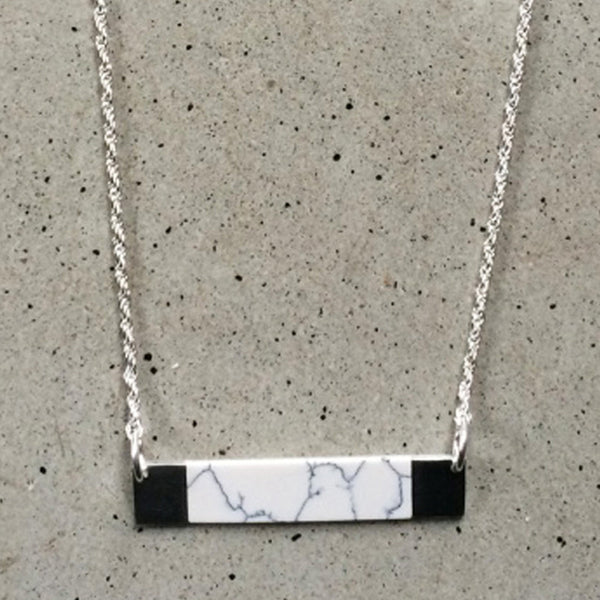 short sterling silver necklace, with howlite stone inlay