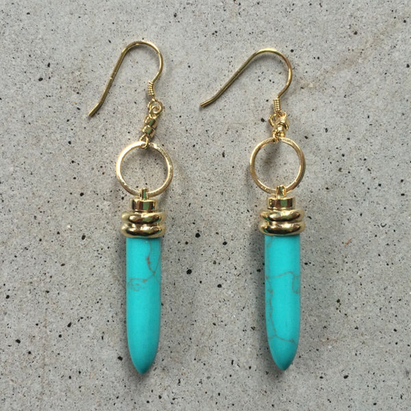 18k gold earrings with turquoise drops