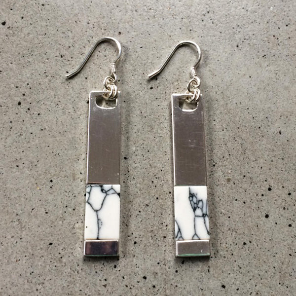 holwite inlaid sterling silver earrings