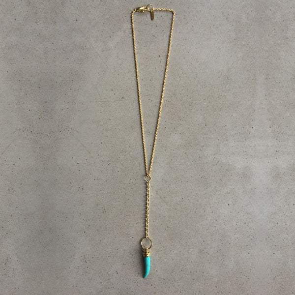 long light bronze necklace with turquoise pendant