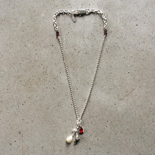 short sterling silver necklace with mother of pearl droplet