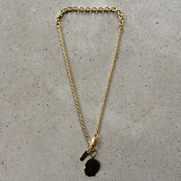 short light bronze necklace with childs pendant