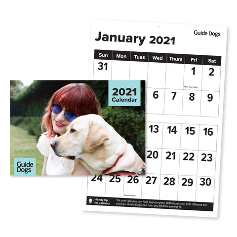 Guide Dogs 2021 large format / accessible Calendar (A3) - Merchandise Gift