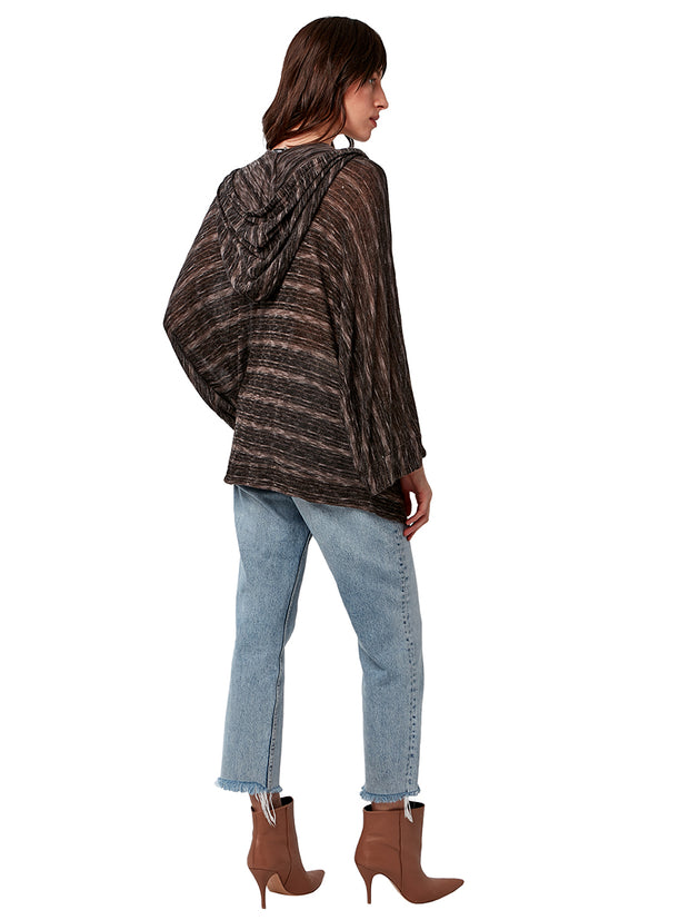 Fluff Knit Hooded Poncho