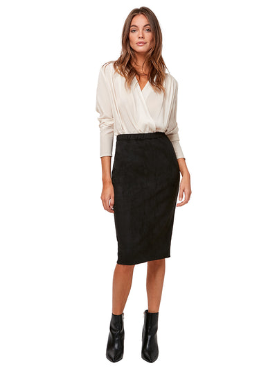 Charlize Vegan Suede Pencil Skirt