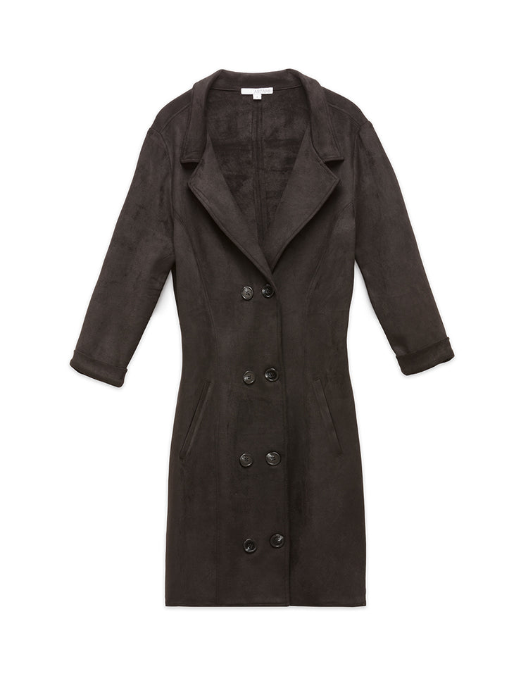 Mon Coeur Vegan Suede Trench Dress