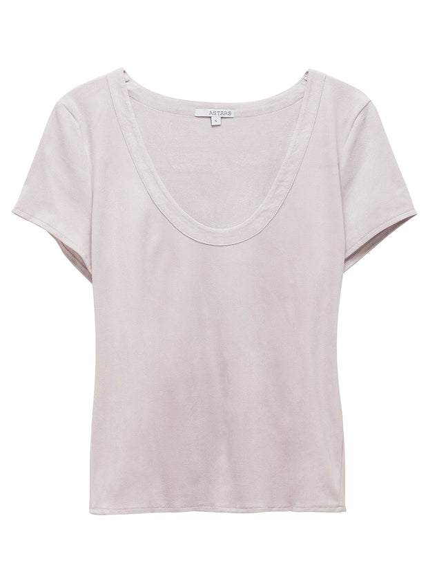 Angeleno U Neck Vegan Suede Tee