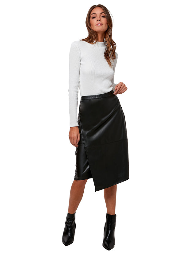 Inverness Vegan Leather Tummy Tuck Skirt