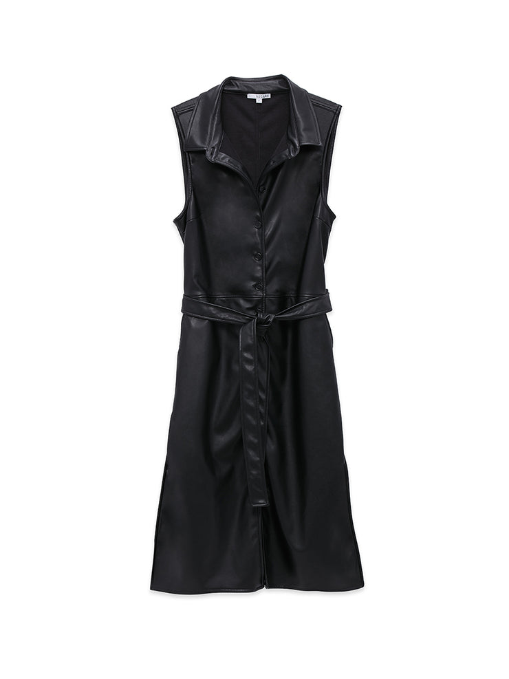 Nightfall Vegan Leather Shirtdress
