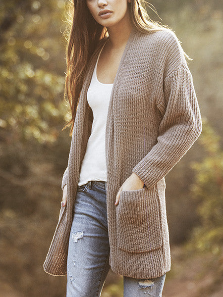 2017 Women's Long Sleeve Knitted Cashmere Cardigan Sweater