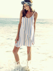 Gauze Beach Stripe Flutter Dress