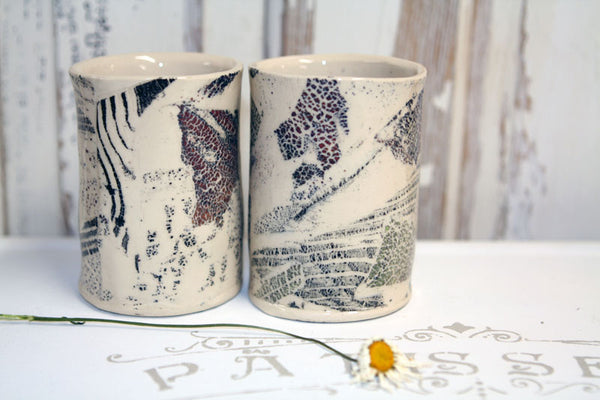 Handmade Pottery Grunge Teacup Set