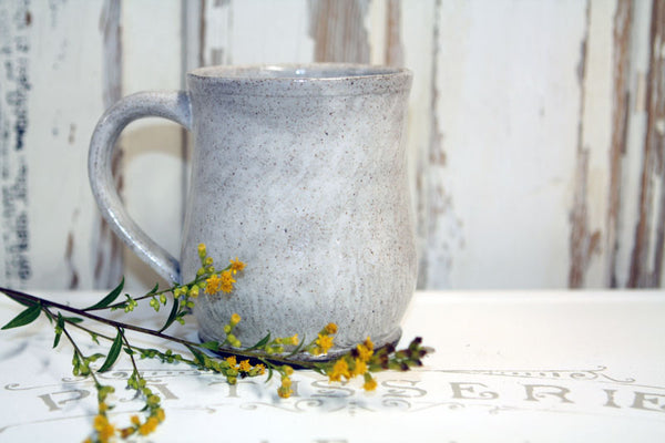 Handmade Pottery Speckled White Farmhouse Mug