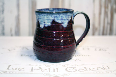 Handmade Pottery Frothy Burgundy and Blue Mug