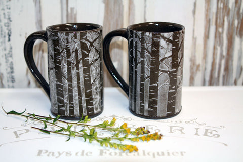 Handmade Pottery Snowy Forest Mug Set