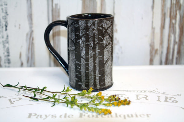 Handmade Pottery Snowy Forest Tree Mug