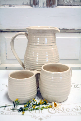 Creamy White Farmhouse Handmade Pottery Pitcher and Mug Set