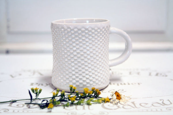 Squatty Quilted Farmhouse Handmade Pottery Mug