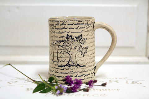 Handmade Pottery Country Tree Swing Mug