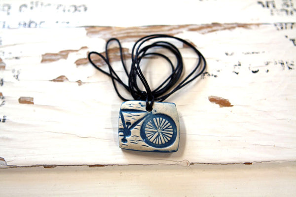 Blue Bicycle Necklace