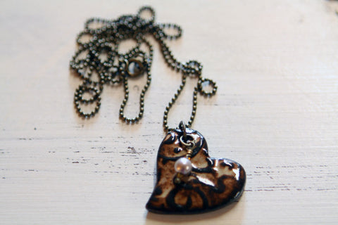 Creamy Espresso Heart Necklace