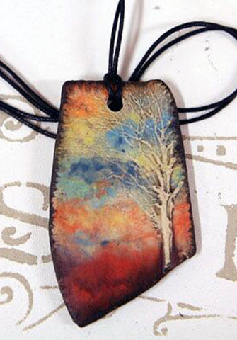 Tree of Life Sunset Reversible Essential Oil Diffuser Necklace
