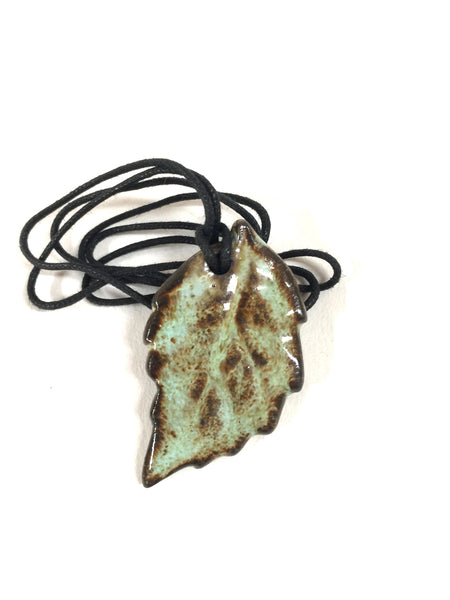 Speckled Minty Green & Dark Brown Fall Leaf Essential Oil Diffuser Necklace
