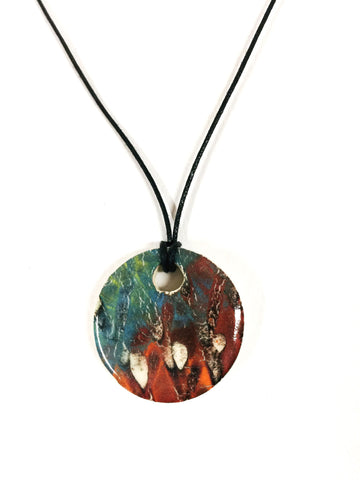Teal and Orange Grunge Diffuser Necklace