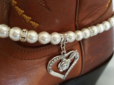 Pearl and Heart Boot Bling