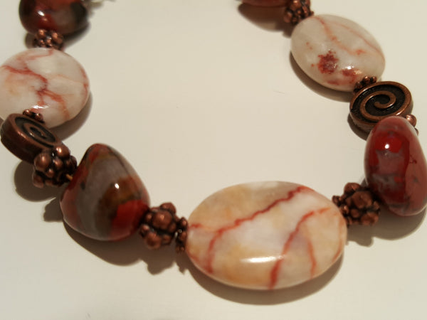 Red Carnelian and Red Line Marble Bracelet