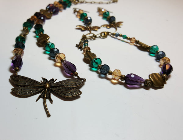 Fall Dragonfly Bronze Necklace