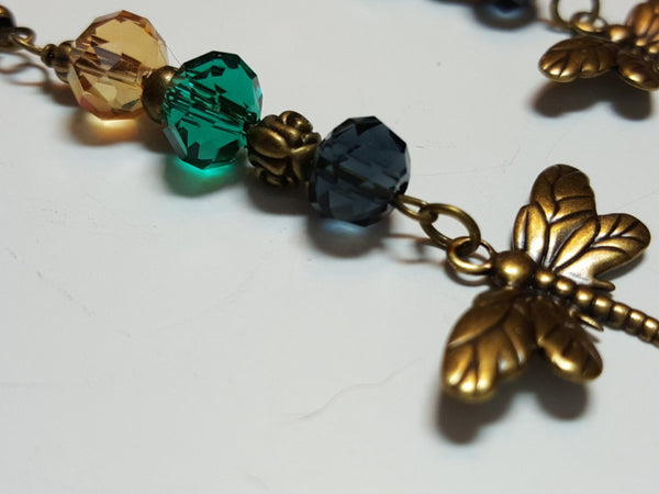 Fall Dragonfly bronze earrings