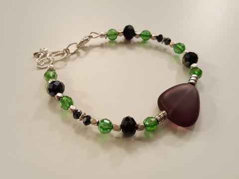 Dragonfly Green and Purple Bracelet