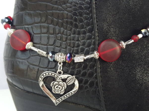 Red Sea Glass Heart Boot Bling