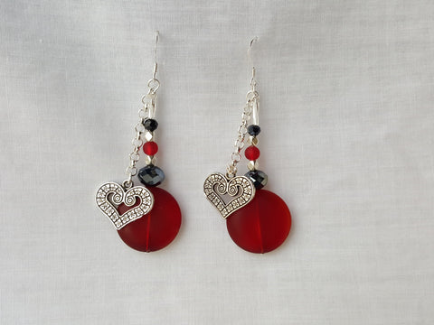 Red Sea Glass and Heart Earrings