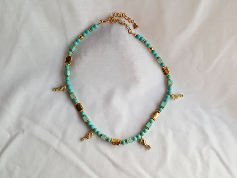 Seahorse and Turquoise Gold Necklace