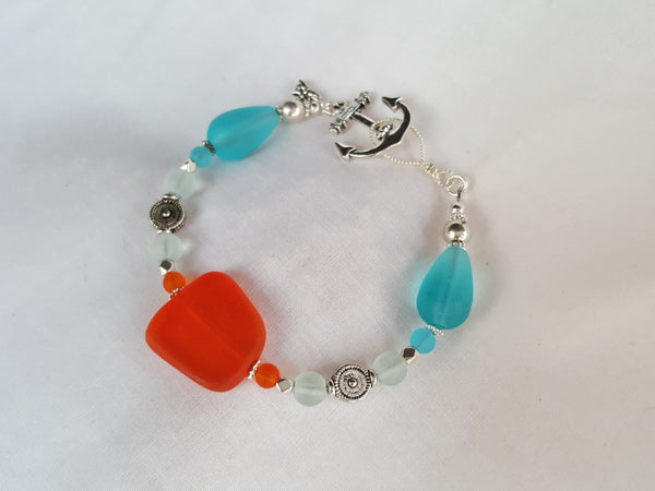 Tangerine and Turquoise Sea Glass Bracelet