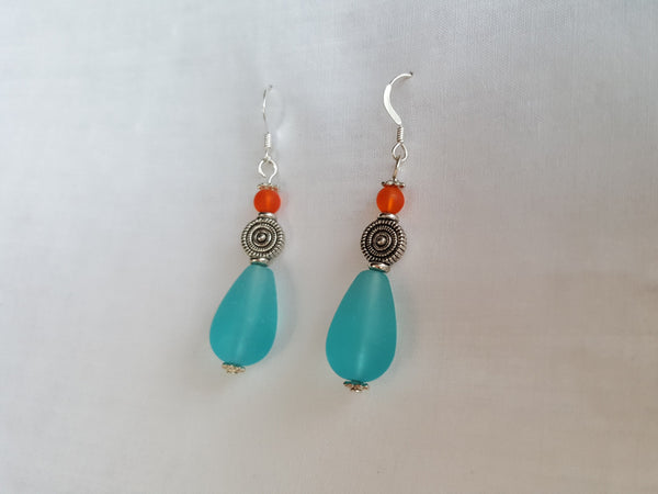 Tangerine and Turquoise Sea Glass Earrings