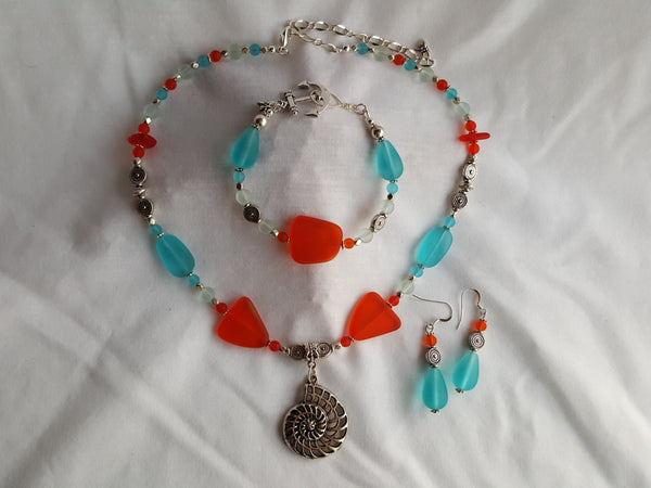 Tangerine and Turquoise Sea Glass Necklace