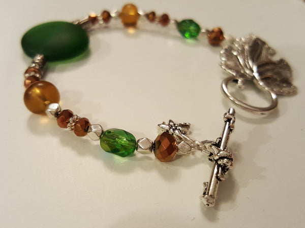 Green and Gold Silver Leaf Bracelet