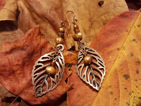 Copper Leaf Earrings with Fresh Water Pearls