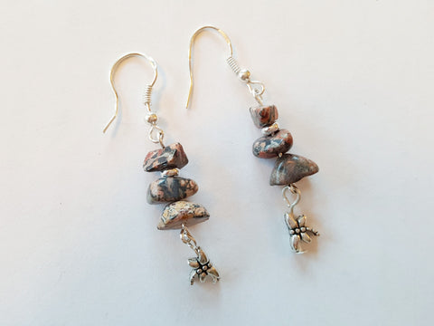 Leopardskin Jasper Dragonfly Earrings