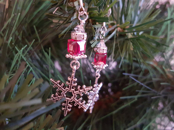 Snowflake Red Swarovski Earrings