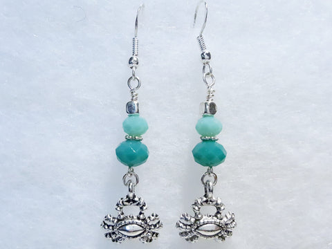 Crab and Turquoise Earrings